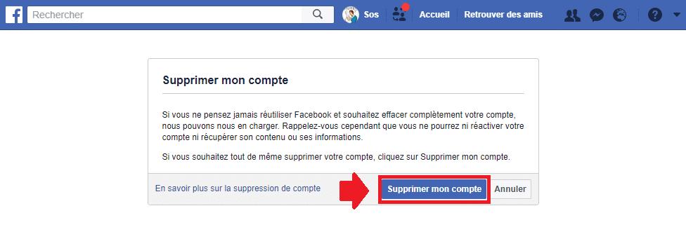 comment supprimer votre compte Facebook méthode